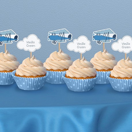 6 Pics pour Cupcakes Avions pour une décoration harmonieuse autour d'un thème pilote.