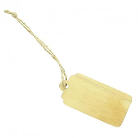 6 Etiquettes rectangle en bois avec cordelette. Idée très originales de marque-place .