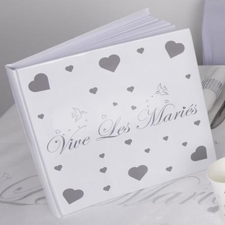 """Livre d'or """" Vive les mariés"""". Très classe et invite naturellement à formuler les meilleurs souhaits aux nouveaux mariés."""