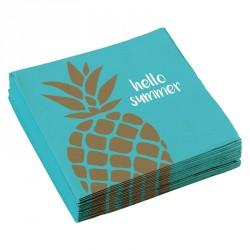 """20 Serviettes papier Ananas """"Hello Summer"""", l'accessoire indispensable pour les fêtes ou goûters d'anniversaire de vos enfants."""