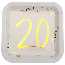10 Assiettes Anniversaire 20 ans blanc et or pour une fête d'anniversaire unique et empreinte de raffinement.