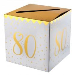 Tirelire Anniversaire 80 ans blanc et or pour permettre à vos invités de déposer les dons tout au long de la fête.