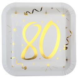 10 Assiettes Anniversaire 80 ans blanc et or pour servir les mets durant la célébration de vos 80 printemps.