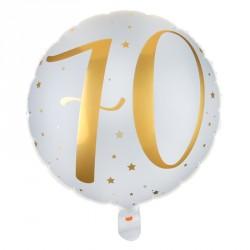 Ballon Alu Anniversaire 70 ans blanc et or pour décorer dignement votre salle de fête.
