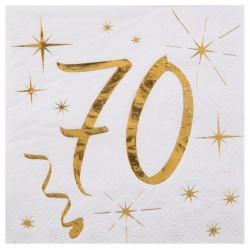 20 Serviettes Anniversaire 70 ans blanc et or pour faire de vos 70 ans une fête réussie dans les moindres détails.