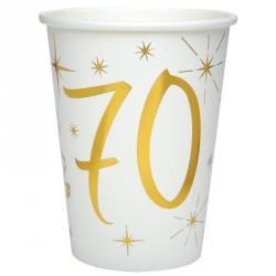 10 Gobelets Anniversaire 70 ans blanc et or donnent facilement un côté chic et tendance à votre décoration.