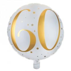 Ballon Anniversaire 60 ans blanc et or pour sublimer votre décoration de salle.