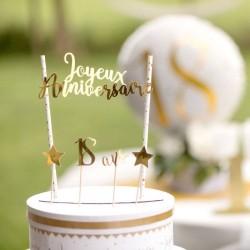 Déco de gâteau des âges métallisé pour donner du style à votre gâteau d'anniversaire.