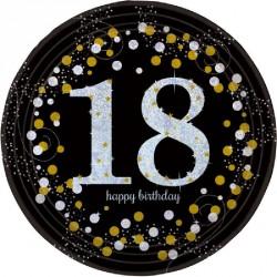 8 Assiettes Anniversaire 18 ans noir et or