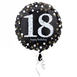 Ballon mylar Anniversaire 18 ans noir et or