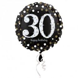 Ballon mylar Anniversaire 30 ans noir et or