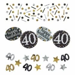 Confettis Anniversaire 40 ans noir et or