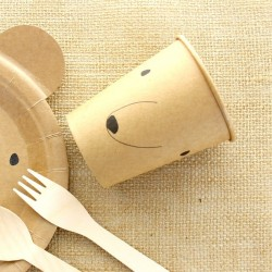 10 gobelets Ourson en carton Kraft
