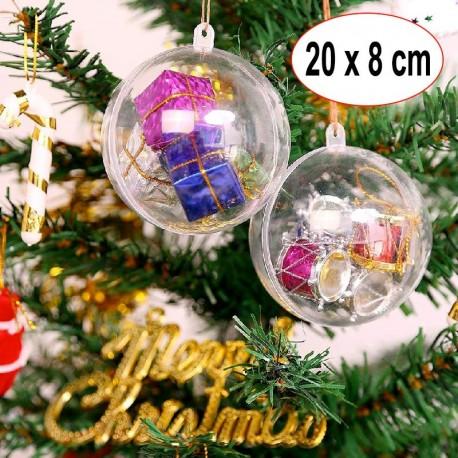 20 Boules de Noël 8 cm Tansparente