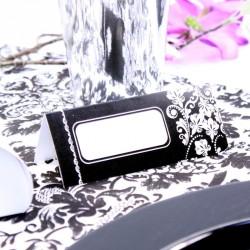 10 Marque place Arabesque Noir et Blanc pour écrire le nom des invités de votre mariage baroque