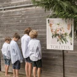 Pancarte Toilettes pour mariage Romantique