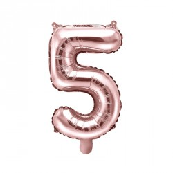 Ballon Chiffre 5 métal Rose Gold 35cm
