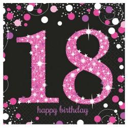 16 serviettes Anniversaire 18 ans Noir et Fuchsia