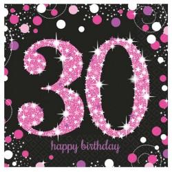16 serviettes Anniversaire 30 ans Noir et Fuchsia