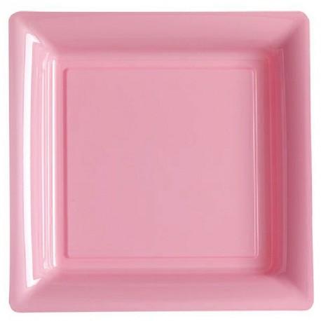 12 grandes assiettes rose rigides et réutilisables