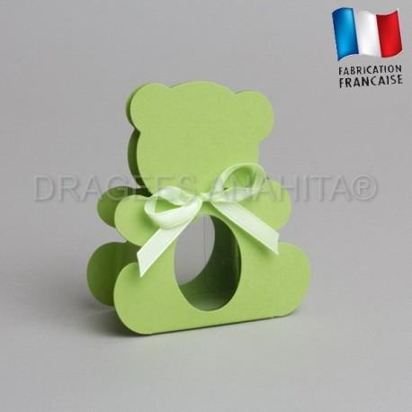 dragées bapteme ourson vert