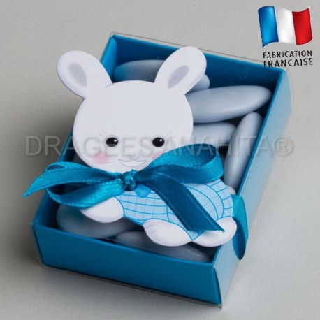 fourreau dragées bapteme lapin bleu
