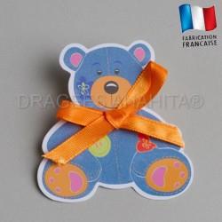 étiquette dragées bapteme ours
