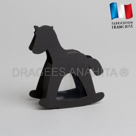 dragées baptême cheval noir