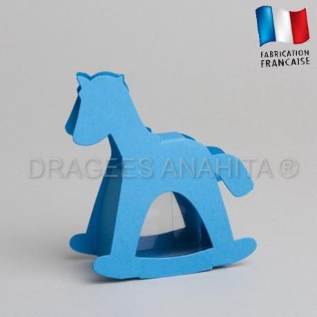 dragées baptême cheval turquoise