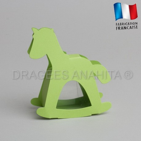 dragées baptême cheval vert
