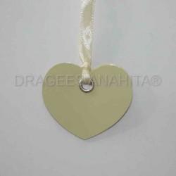 12 Etiquettes coeur avec ruban couleur ivoire