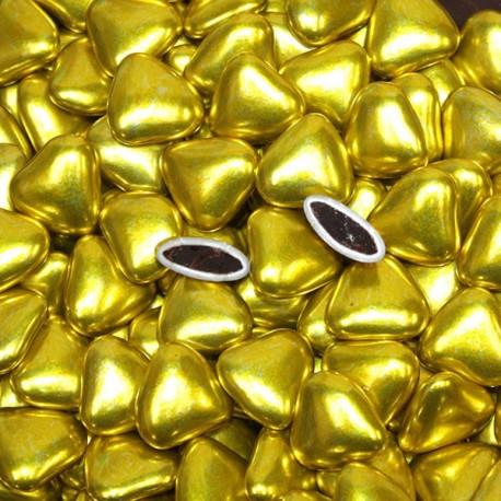 Dragées coeur chocolat or 1 Kg