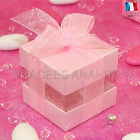 Cube à dragées rose nacré