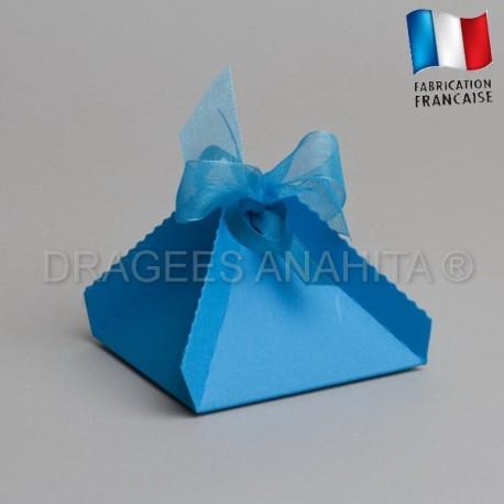Boite a dragées pyramide turquoise