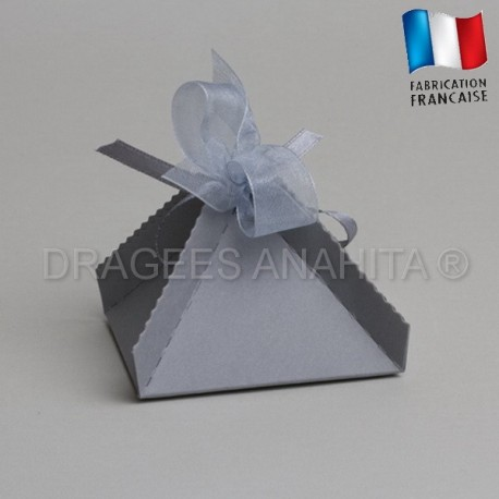 Boite a dragées pyramide grise