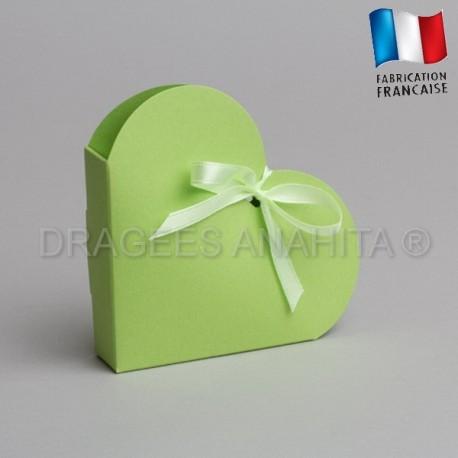 Contenant dragées coeur vert