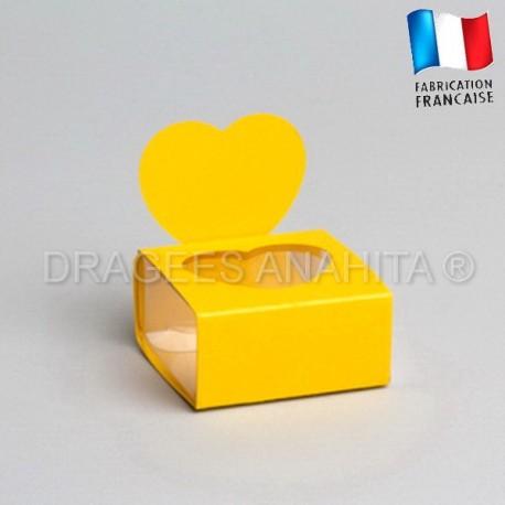 Boite à dragées coeur jaune