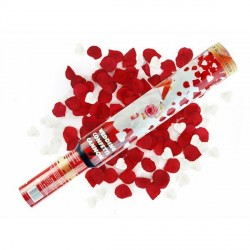 Canon à conféttis coeur blanc pétale rouge
