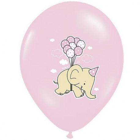 Ballon naissance éléphant rose x 6