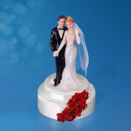 Figurine gâteau de mariage rose rouge