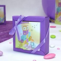 Boite à dragées carré cube bébé