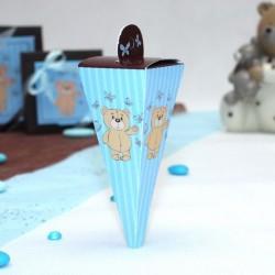 Mini cone à dragées Ourson bleu