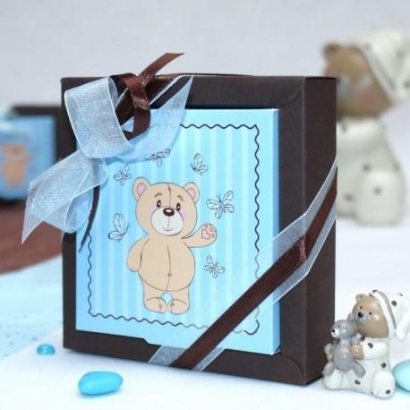 Grande boite à dragées carré ourson bleu