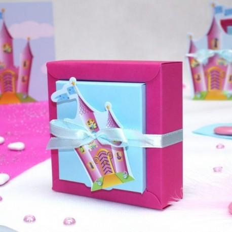 Boite carrée à dragées Chateau de princesse