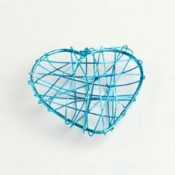 4  coeurs en fil métal turquoise
