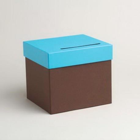 Urne chocolat et turquoise