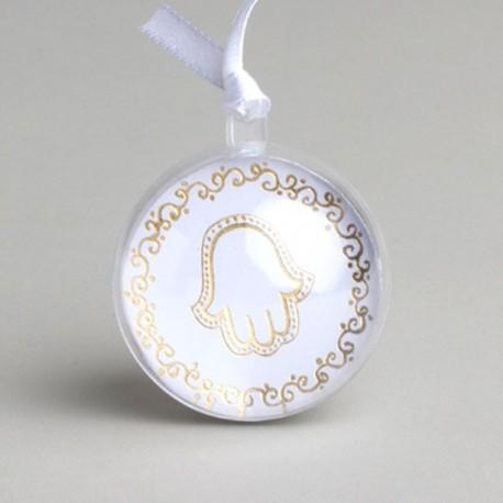 Boule à dragées Mariage Oriental Blanc et or