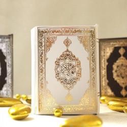 Mini Coran pour dragées blanc et or