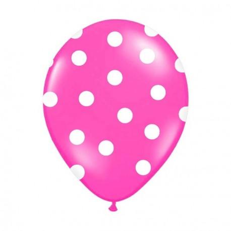 6 Ballons fuchsia pois blanc 36 cm
