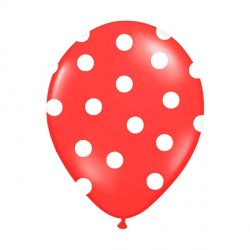 6 Ballons rouge pois blanc 36 cm